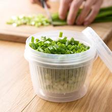日本进yi厨房葱花姜li盒冰箱沥水保鲜收纳盒塑料食物密封盒子