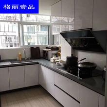 晶钢板yi柜整体橱柜da房装修台柜不锈钢的石英石台面全屋定制