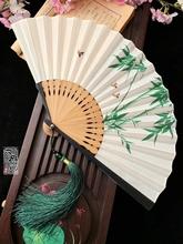 7寸中yi风扇子折扇da棉麻竹扇男女汉服夏季随身绿色