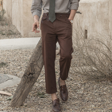 SOAyiIN独立复da工装九分裤男 英伦风巴黎扣休闲锥形9分裤