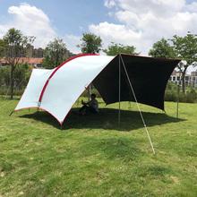 猴户外yi幕哈比帐篷da格纹黑胶全遮阳光防晒防雨水新式牛津布