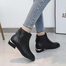 婚鞋红yi女2021oh式单式马丁靴平底低跟女短靴时尚短靴女靴