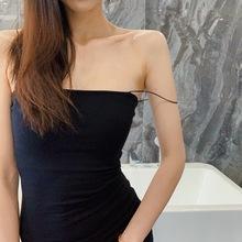 LIVyiA2021ng美纯色皮筋包臀吊带裙女性感内搭打底紧身连衣裙