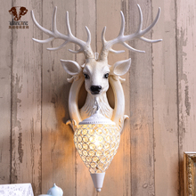 招财鹿yi壁灯北欧式da视背景墙床头个性创意鹿头墙壁灯装饰品