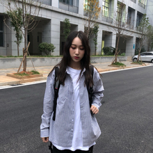 KTDyi 19F/an系蓝色条纹秋冬新式休闲长袖 男女情侣宽松条纹衬衫