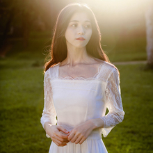 蜜搭 yj气温柔风白c2法式少女气质显瘦方领连衣裙女春2021新式