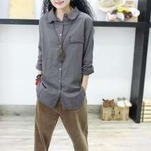 EDiyjyipaij1(小)众上衣中长式韩款宽松衬衣开衫白色棉麻衬衫女