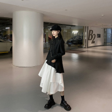 DDGyjRL遮胯裙sh防走光设计感不规则半身裙女黑色高腰A字裤裙