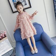 女童连yk裙2020vu新式童装韩款公主裙宝宝(小)女孩长袖加绒裙子