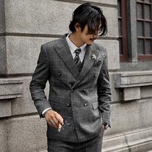 SOAylIN复古英cp排扣西装外套男 格子商务正装西服婚礼职业装