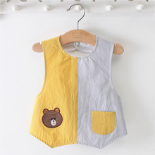 阿喜和ym宝宝罩衣纯qd护衣男女孩双排宝宝防水防脏衣