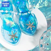女童水ym鞋冰雪奇缘km爱莎灰姑娘凉鞋艾莎鞋子爱沙高跟玻璃鞋