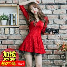 202yn秋季冬性感kc显瘦收腰气质加绒蕾丝大红色长袖连衣裙短裙