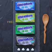 2盒 mentos曼yn7思无糖特wl糖果留兰香青柠清劲铁盒装润喉糖