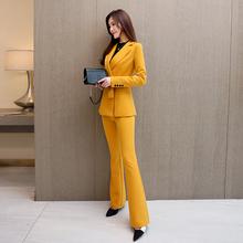 职业装女裤套装2020yn8装新式显wt西装外套微喇长裤两件套女