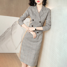 西装领yn衣裙女20wt季新式格子修身长袖双排扣高腰包臀裙女8909