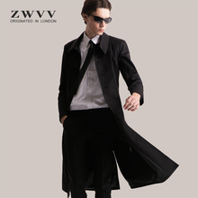 202yo新式风衣男ia士修身长式过膝大衣英伦中长式时尚潮流外套