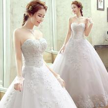 婚纱礼服2020冬季yo7款新娘韩ia齐地修身显瘦抹胸长拖尾婚纱