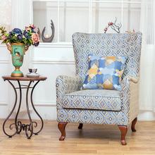 美式单yo沙发老虎椅an厅高靠背沙发椅北欧(小)户型书房老虎凳子