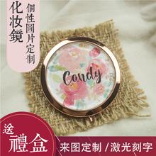 金属复yo化妆镜便携an叠(小)镜子 随身镜梳妆镜礼品定做包邮