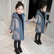 [yonq]女童毛呢儿童格子外套大衣