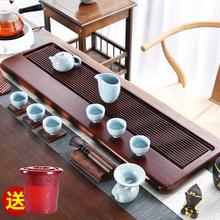 茶盘家yo重竹日式简ji长方形茶海茶台整块功夫茶具干泡排水式