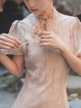 现货新yo白色蚀骨旗ji款连衣裙网红同式复古中国风年轻式少女
