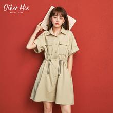 七格格yo分袖连衣裙ji20夏新式韩款收腰显瘦裙子学生短式工装裙
