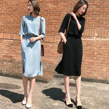 黑色雪yo连衣裙女夏ji0新式超火中袖冷淡风极简显瘦遮肚气质裙子