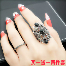 欧美复yo宫廷风潮的ji艺夸张镂空花朵黑锆石戒指女食指环礼物