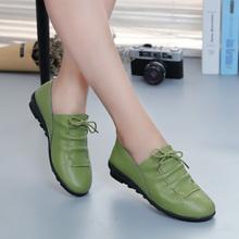 女式豆yo鞋2018ji底(小)皮鞋妈妈鞋平底单鞋真皮孕妇鞋休闲女鞋