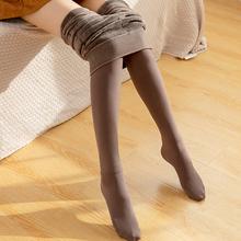 冬季加yo加厚打底裤ji咖啡色连脚裤袜显瘦保暖踩脚一体裤灰色