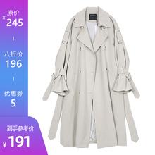 【8折yo欢】风衣女ji韩款秋季BF风宽松过膝休闲薄外套