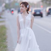 森系轻yo纱旅拍简约ji020新式梦幻出门纱写真白纱日常轻纱礼服