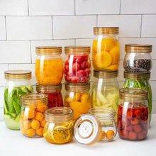 密封罐yo璃食品瓶子bo咸菜罐泡酒泡菜坛子带盖家用(小)储物罐子