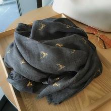 烫金麋鹿棉麻yo3巾女百搭bo季两用超大披肩保暖黑色长款丝巾