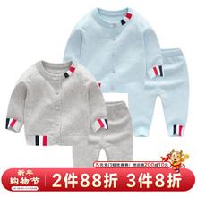 婴儿冬yo纯棉毛衣套ne宝宝秋冬加绒开衫新生儿针织衫外出衣服