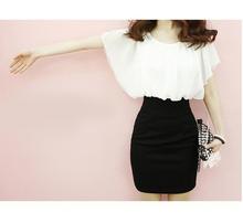 上白下黑拼色皱褶假两件套装圆领yo12腰性感ne6新式连衣裙女A