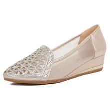 夏式老yo京布鞋网布ng尚坡跟休闲女鞋牛筋底大码女网鞋女凉鞋