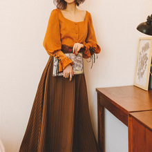 原创设yo春夏新品英rm高腰条纹长裙A字大摆学院风女半身裙