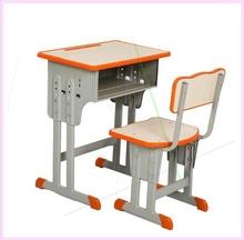 学校高yp加厚带抽屉pz桌单的套装写字桌子升降中(小)学生课桌椅