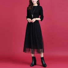 秋冬新yp百褶网纱拼wj针织连衣裙女气质蕾丝裙修身中长式裙子