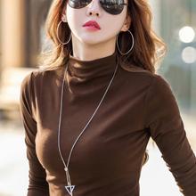 半高领打底衫女百yp5长袖t恤wj春秋冬新款内搭加厚纯棉洋气上衣