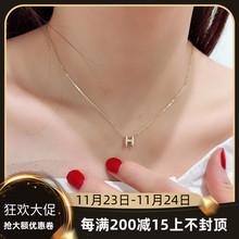 高级韩国纯14K黄金项链 网红yp12体字母wj链k金项链女友礼物