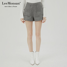 Leeyponsanwj18冬季新式毛呢高腰短裤时尚休闲裤 设计师CW18009