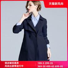 香衣丽yq2021春mc女装藏青色修身显瘦(小)个子短式外套风衣女