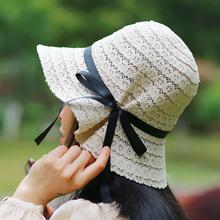女士夏yq蕾丝镂空渔mc帽女出游海边沙滩帽遮阳帽蝴蝶结帽子女