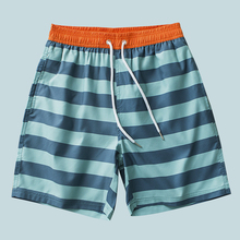 男速干yq裤沙滩裤潮bh海边度假内衬温泉水上乐园四分条纹短裤