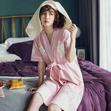睡裙女yq季纯棉短袖rx1年家居服可外穿连体裙休闲加大码睡衣夏天