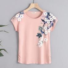202yq新式纯棉短wm女宽松大码半袖体恤中年妈妈夏装洋气上衣服